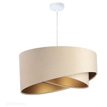 Abażur Tia - beżowa lampa wisząca welurowa, do salonu, sypialni (asymetria 1xE27) ręcznie robiona, Beżowy / Złoty / Biała podsufitka