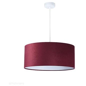 Welurowy abażur Fuksja - bordowa lampa wisząca do salonu, sypialni (kolekcja - Standard, 1xE27) ręcznie robiona, Bordowy / Biały / 50cm