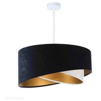 Abażur Lea - granatowa lampa wisząca welurowa, do salonu, sypialni (asymetria 1xE27) ręcznie wykonana, Granatowy / Biały / Złoty / Biała podsufitka