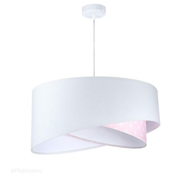 Abażur Daja - biała lampa wisząca welurowa, do sypialni, pokoju dziecka (asymetria - gwiazdki 1xE27) ręcznie robiona, Różowe gwiazdki / Biała podsufitka