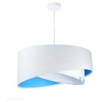 Abażur Daja - biała lampa wisząca welurowa, do sypialni, pokoju dziecka (asymetria - gwiazdki 1xE27) ręcznie robiona, Niebieska / Niebieskie gwiazdki / Biała podsufitka