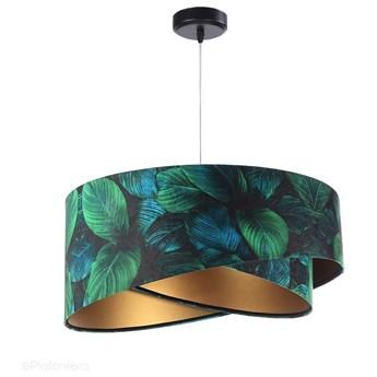Abażur Jungle - zielona lampa wisząca welurowa, do salonu, sypialni (asymetria - liście 1xE27) ręcznie robiona, Jungle / Złoty