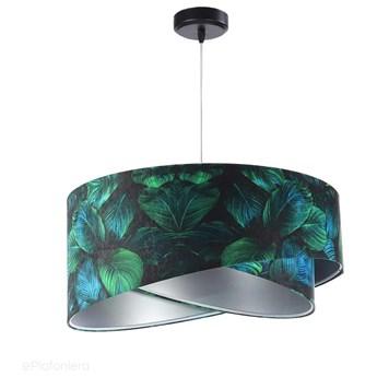 Abażur Jungle - zielona lampa wisząca welurowa, do salonu, sypialni (asymetria - liście 1xE27) ręcznie robiona, Jungle / Srebrny