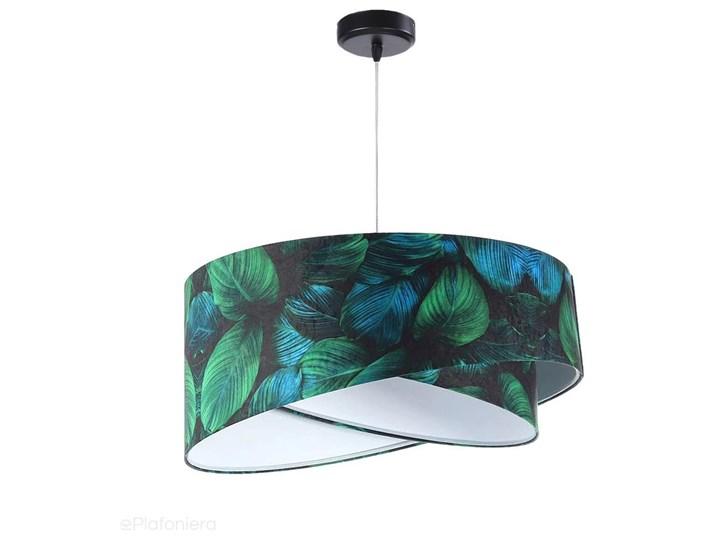 Abażur Jungle - zielona lampa wisząca welurowa, do salonu, sypialni (asymetria - liście 1xE27) ręcznie robiona, Jungle / Biały Lampa z abażurem Tworzywo sztuczne Tkanina Metal Styl Klasyczny
