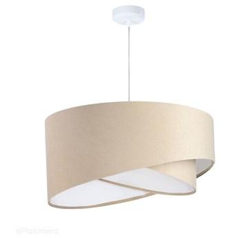 Abażur Kiara - kremowa lampa wisząca welurowa do salonu, sypialni (asymetria 1xE27) ręcznie robiona, Kremowy / Biały / Biała podsufitka