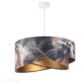Abażur Manuela - złota lampa wisząca welurowa, do salonu, sypialni (asymetria 1xE27) ręcznie robiona, Biała podsufitka