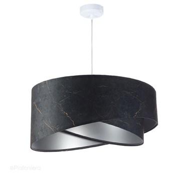 Abażur Marmur - czarna lampa wisząca welurowa do salonu, sypialni (asymetria 1xE27) ręcznie robiona, Marmur / Srebrny / Biała podsufitka