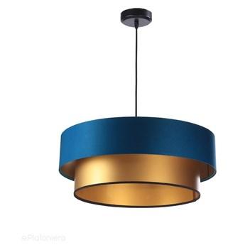 Satynowy abażur Fidelia - niebieska lampa wisząca do salonu, sypialni (kolekcja - Duo, 1xE27) ręcznie robiona, Morski / Złoty / 50cm