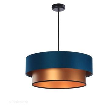 Satynowy abażur Fidelia - niebieska lampa wisząca do salonu, sypialni (kolekcja - Duo, 1xE27) ręcznie robiona, Morski / Miedziany / 50cm