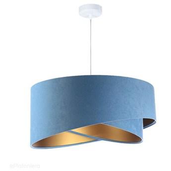 Abażur Alison - błękitna lampa wisząca welurowa do salonu, sypialni (asymetria 1xE27) ręcznie robiona, Błękitny / Złoty / Biała podsufitka
