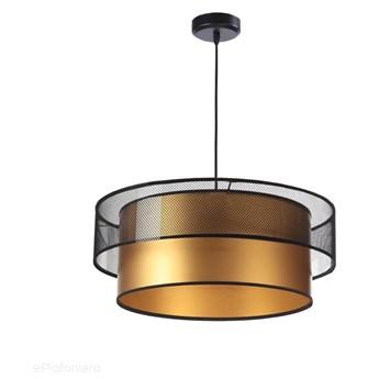 Satynowy abażur Melisa - siateczka, lampa wisząca do salonu, sypialni (kolekcja - Duo, 1xE27) ręcznie robiona, Przeźroczysty / Złoty / 50cm