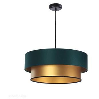 Satynowy abażur Tonia - zielona lampa wisząca do salonu, sypialni (kolekcja - Duo, 1xE27) ręcznie robiona, Zielona satyna / Złoty / 50cm