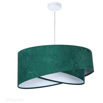 Abażur Rubin - zielona lampa wisząca welurowa do salonu, sypialni (asymetria 1xE27) ręcznie robiona, Butelkowa Zieleń / Biały / Biała podsufitka