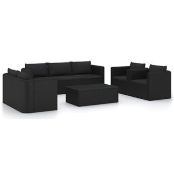 vidaXL 9-cz. zestaw mebli ogrodowych z poduszkami, rattan PE, czarny