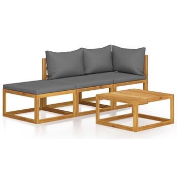 4-cz. zestaw wypoczynkowy do ogrodu, poduszki, drewno akacjowe