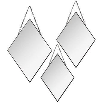 Komplet 3 czarnych luster Diamond