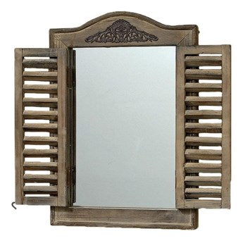 Drewniane lustro z okiennicami