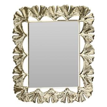Złote, stojące lustro z motywem liści