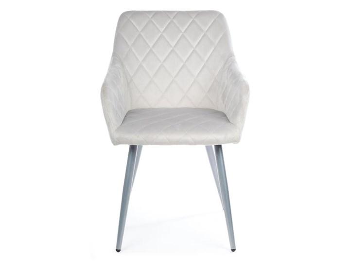 Krzesło Rico Light Gray Welur Tkanina Metal Styl Nowoczesny