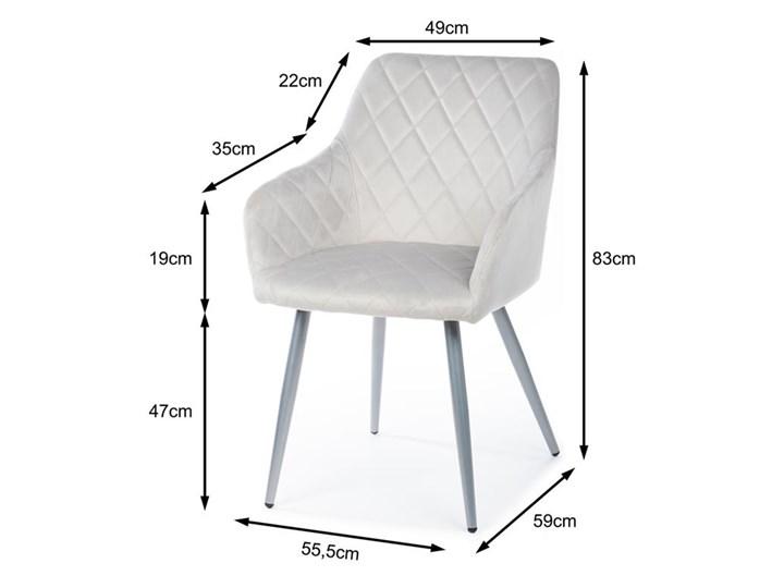 Krzesło Rico Light Gray Metal Welur Tkanina Styl Nowoczesny