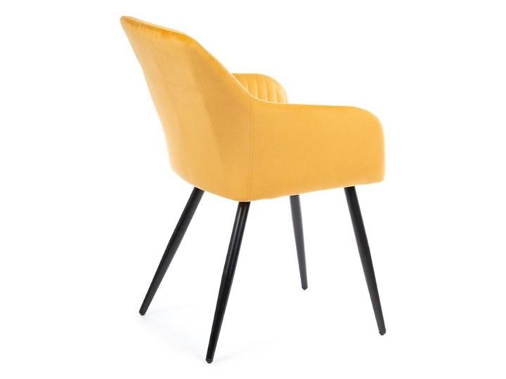 Krzesło Lenti Black Orange Metal Welur Tkanina Styl Nowoczesny
