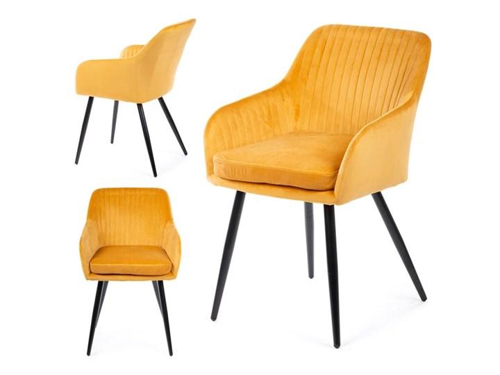 Krzesło Lenti Black Orange Tkanina Styl Nowoczesny Metal Welur Kategoria Krzesła kuchenne