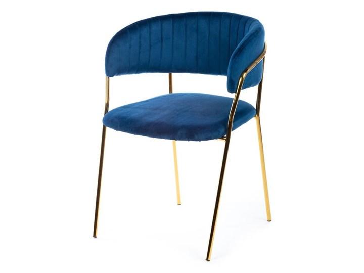 Krzesło Rarity Gold Dark Blue Welur Tkanina Metal Kolor Złoty
