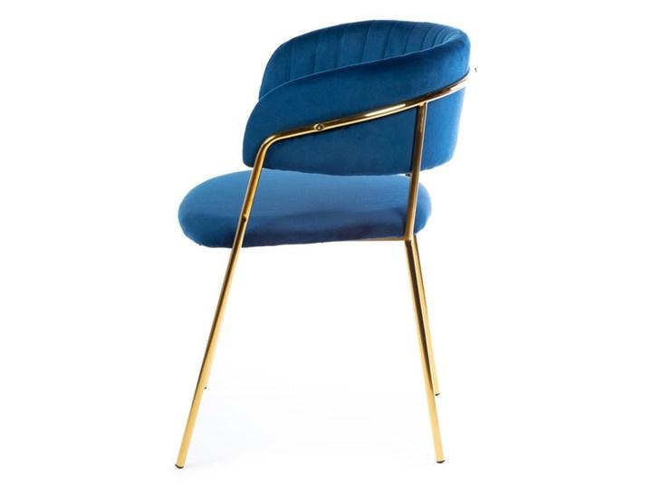 Krzesło Rarity Gold Dark Blue Tkanina Metal Welur Styl Nowoczesny
