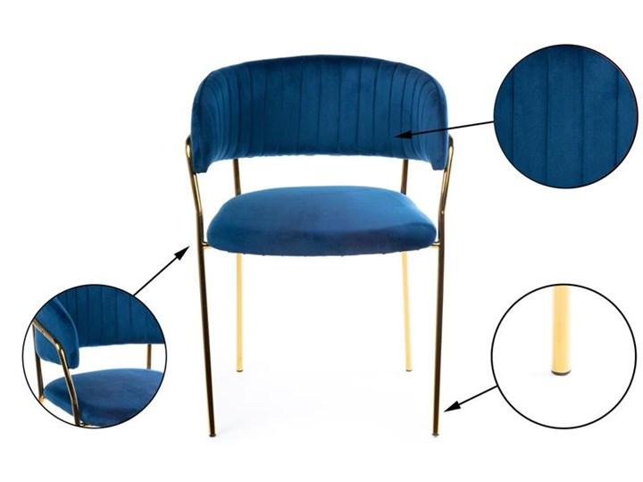 Krzesło Rarity Gold Dark Blue Tkanina Styl Glamour Welur Metal Kategoria Krzesła kuchenne