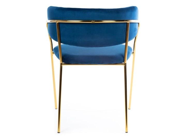 Krzesło Rarity Gold Dark Blue Welur Styl Nowoczesny Metal Tkanina Styl Glamour