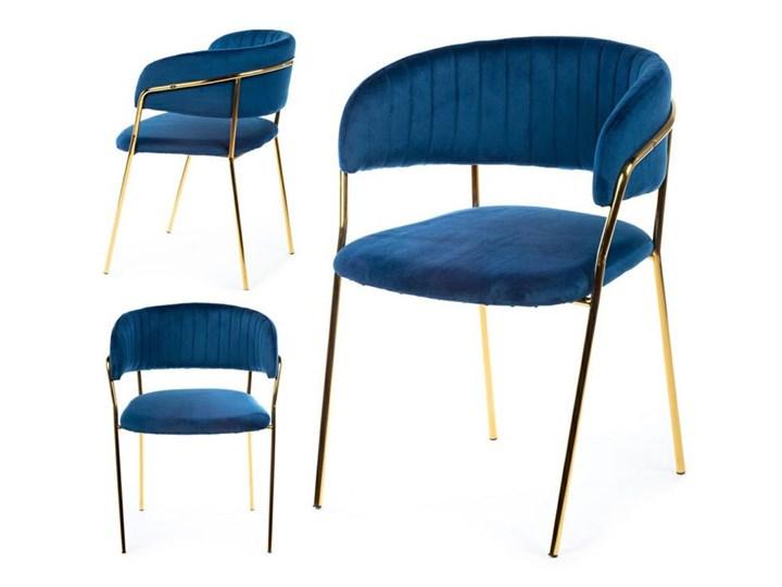 Krzesło Rarity Gold Dark Blue Welur Tkanina Metal Kolor