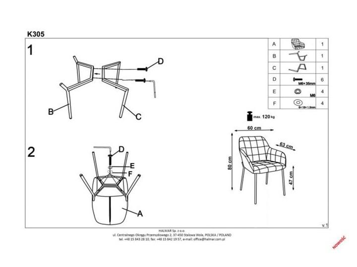 Krzesło K305 VELVET granatowe HALMAR Tkanina Welur Tapicerowane Stal Styl Glamour Metal Styl Nowoczesny