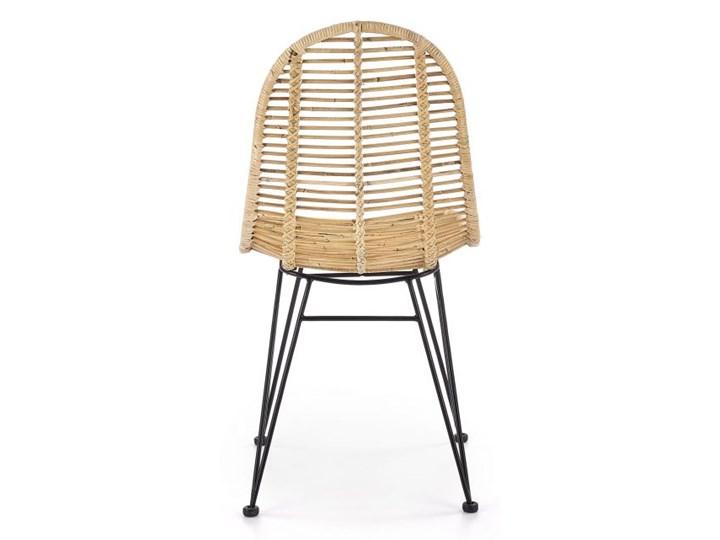 Krzesło K337 rattanowe HALMAR Stal Metal Styl Industrialny Tkanina Kolor Brązowy