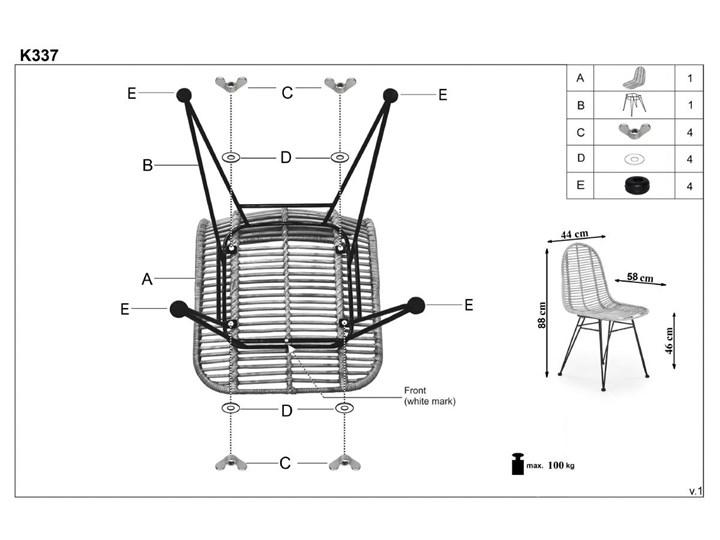 Krzesło K337 rattanowe HALMAR Kategoria Krzesła kuchenne Tkanina Metal Stal Styl Nowoczesny