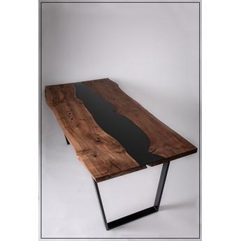 Stół Orzech Włoski z czarną szybą