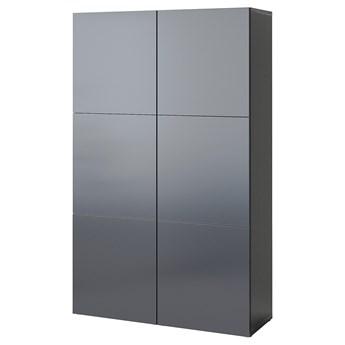 IKEA BESTÅ Kombinacja z drzwiami, Czarnybrąz/Riksviken efekt szczotkowanej ciemnej cyny, 120x42x193 cm