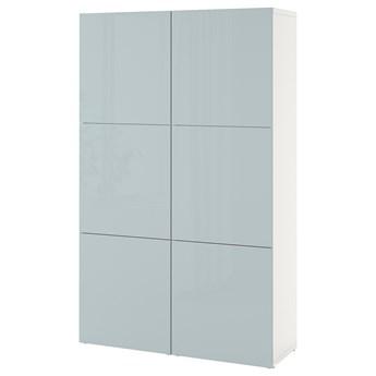 IKEA BESTÅ Kombinacja z drzwiami, Biały Selsviken/połysk jasnoszaro-niebieski, 120x42x193 cm