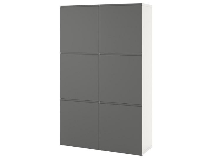 IKEA BESTÅ Kombinacja z drzwiami, Biały/Västerviken ciemnoszary, 120x42x193 cm Plastik Szerokość 120 cm Głębokość 42 cm Metal Stal Tworzywo sztuczne Lustro