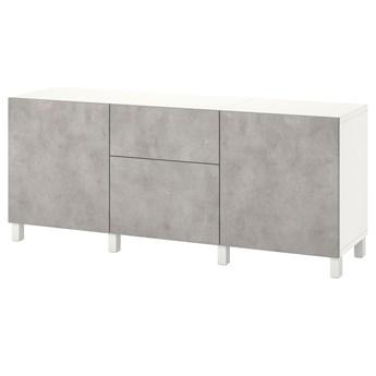 IKEA BESTÅ Kombinacja z szufladami, Biały Kallviken/jasnoszary imitacja betonu, 180x42x74 cm