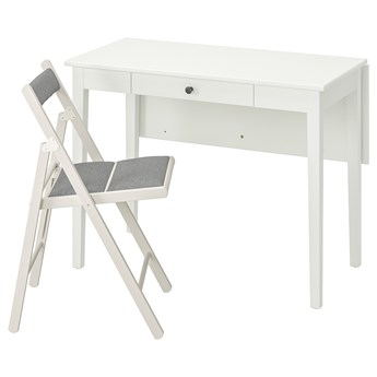 IKEA IDANÄS / TERJE Stół i 1 krzesło, biały/Knisa jasnoszary