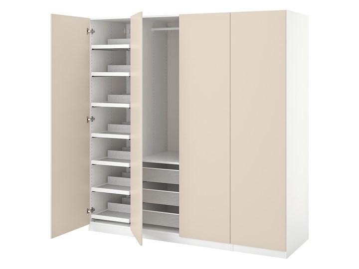 IKEA PAX / REINSVOLL Kombinacja szafy, biały/szarobeżowy, 200x60x201 cm Tworzywo sztuczne Plastik Pomieszczenie Garderoba Stal Metal Rodzaj drzwi Uchylne