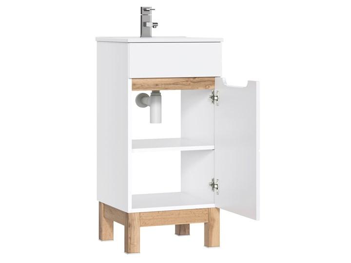 Bettso Wąska szafka pod umywalkę Bali White 40 / biel alpejska + biały połysk Wysokość 84 cm Płyta MDF Szerokość 40 cm Kategoria Szafki stojące