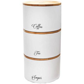 Komplet 3 pojemników na żywność Klausberg KB 7507 do herbaty kawy cukru białe