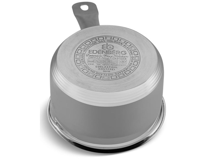Rondel stalowy Edenberg EB 6011 z pokrywką 0.8L na indukcję Stal nierdzewna Kategoria Rondle