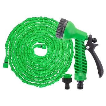 Wąż ogrodowy 5m-15m rozciągliwy szlauch lateksowy z pistoletem zielony