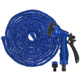 Wąż ogrodowy 15m-45m rozciągliwy szlauch lateksowy z pistoletem niebieski