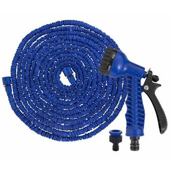 Wąż ogrodowy z pistoletem 10m-30m rozciągliwy szlauch lateksowy niebieski