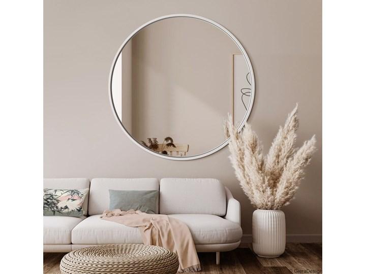 LUSTRO SCANDI W BIAŁEJ RAMIE Lustro podświetlane Ścienne Okrągłe Pomieszczenie Sypialnia