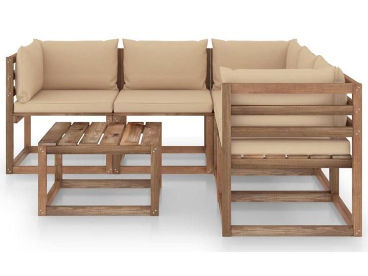 vidaXL 6-cz. zestaw wypoczynkowy do ogrodu, beżowe poduszki, sosna Drewno Zestawy wypoczynkowe Styl Rustykalny