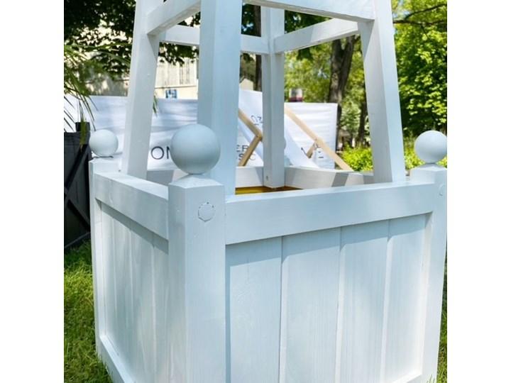 DREWNIANA BIAŁA DONICA OGRODOWA WYBIERZ ROZMIAR WINDSOR  50x50x40cm BEZ DODATKÓW Drewno Kolor Biały